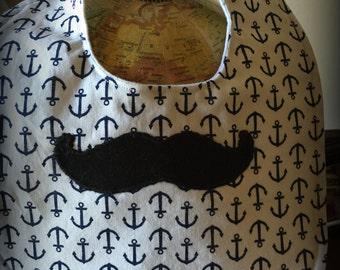 Nautical Mustache Bib