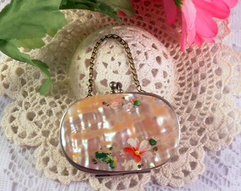1930s Vintage Mother of Pearl Or Shell Miniature Coin Purse with Hand Painted Flowers