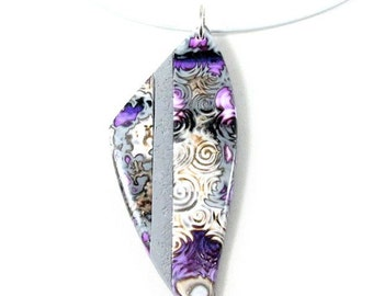 grey purple and orange polymer clay short necklace