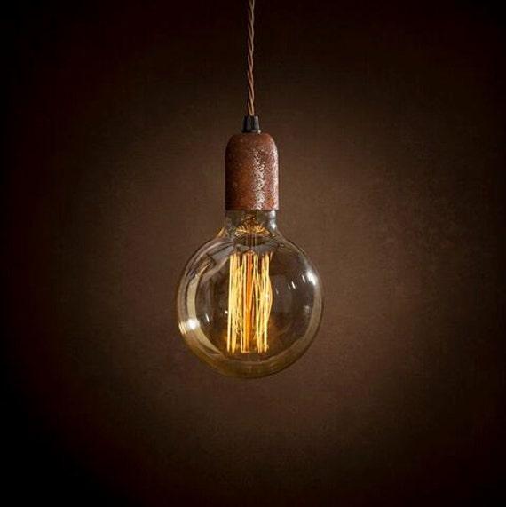 Single Rust Pendant Light Edison Bulb Ceiling Rose