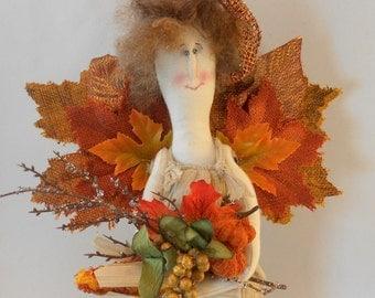Harvest Angel, Fall Angel, Thanksgiving Angel, Holiday Angel, Autumn Angel, OOAK Folk Art Doll, Floral Centerpiece
