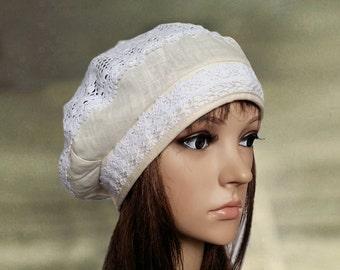 Summer cotton beret, Linen hats women, Linen beret hats, Summer beret lady, Cotton lace hats, Organic cotton hats, Trendy beret hat