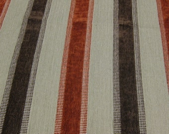 SALE! The Aiken Collection, Upholstery weight stripe by Marcovaldo. Burnt Orange/ Brown/ Cream. Horse/Dog Collection