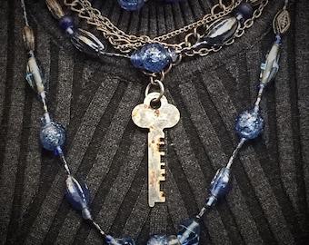 Reinvented Vintage Multi Strand Blue Beaded Key Necklace