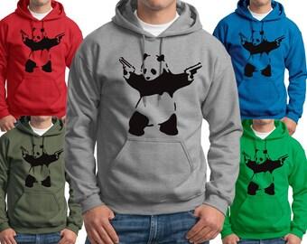 Banksy Panda with Guns Hooded Sweatshirts Adult & Youth Hoodies