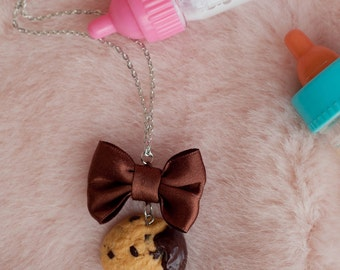 Necklace milk & cookie with bow