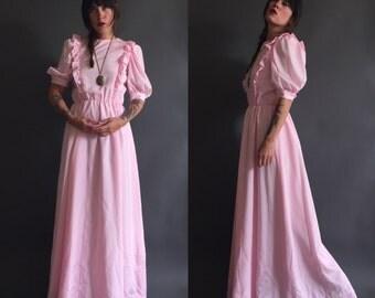 Vintage Powder-Pink Ruffled Prairie Maxi