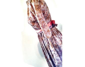 Vintage Paisley Dress 1960s Unique Custom Made Women's Dress