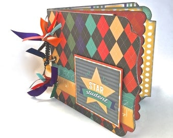 School Chipboard Mini Album, School Photo Album, School Photo Journal