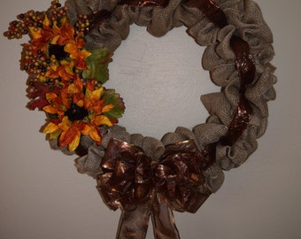 Burlap Wreath, Fall Wreath, Door Hanger