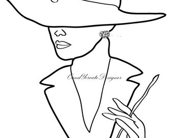 Woman Drawing, Beautiful Coloring, Hat Clip Art, Inspirational print, Motivational print, Modern home art