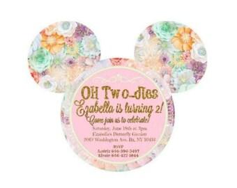 Floral Minnie Mouse Garden Invitation
