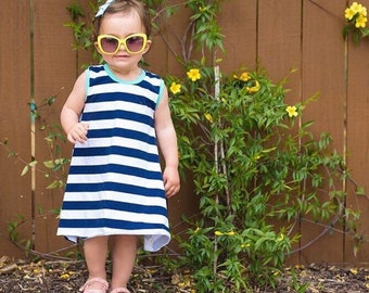 Stripe tank top dress | girls summer dress | navy stripe dress