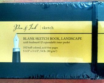 Blank Sketchbook, Landscape, Art Journal, Artists Sketchbook, Art Notebook, Mini Sketchbook, Travel Journal, Black Sketchbook, Pen and Ink