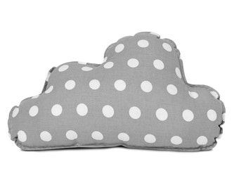 Gray cloud pillow with dots