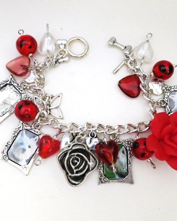 Fabulous vintage silvertone doggy charm bracelet