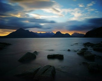 scottish landscape, nature photography, fine art print, home decor print, mountains, scotland art print, landscape print, sunset, scotland