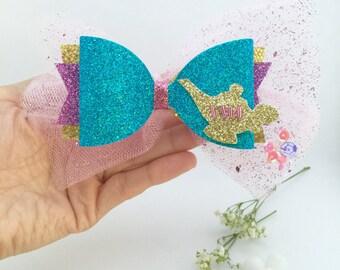 Jasmine inspired bow, Custom jasmine bow hair clip, Disney princess bow, glitter bow, hair clip,  headband