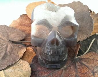 Quartz Crystal Agate Geode Skull / Druzy Skull