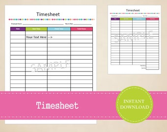 Timesheet - Business Printables - Small Business Planner - Printable and Editable - INSTANT PDF DOWNLOAD