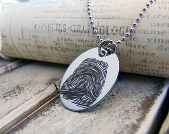Fingerprint Necklace, Engraved Stainless Steel, Oval Pendant - Fingerprint Jewelry- Hand crafted, Personalized, Memorial Gifts, ID Jewelry