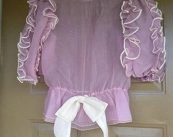 Romantic lilac, lavender, purple top blouse