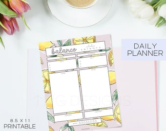 Planner Printables Undated Daily Calendar To Do List Monthly Weekly Goals Meal Planning Printable Stickers Stationary Watercolor Lemons