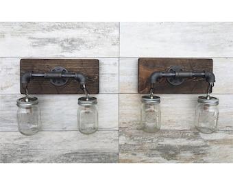 Vanity Light Fixture, 2 Double Mason Jar Light Fixture, Wall Light, Pendant Light, Bathroom Fixture, Rustic, Industrial, Handmade, Modern
