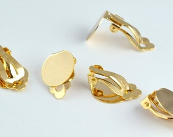 Clip on Earring Finding 18K Gold Filled Size 19x15x9mm to make your own Earring GF9082