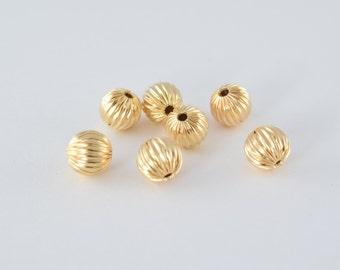 8mm Gold Filled Diamond Cut Round Ball Bead GF3339 18KGF