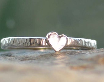 Handmade Silver Heart Stacking Ring