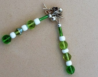 Green and White Studded Earrings