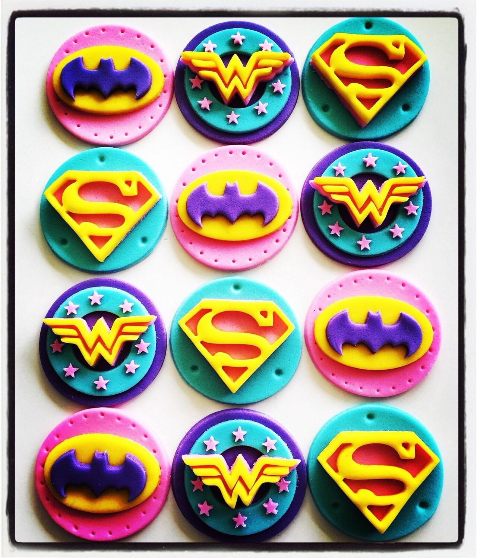 24 X Girlie Superhero Cupcake Toppers Batgirl Wondergirl