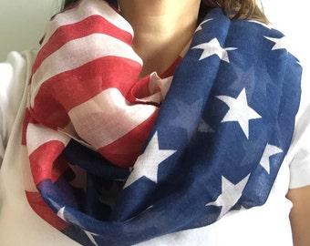American Flag Scarf, american flag scarf, 4th of July Scarf, USA scarf, American scarf, Summer Scarf, Infinity scarf
