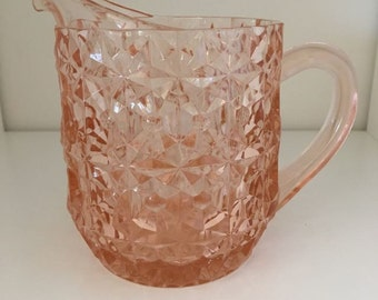 Milk Pitcher in Holiday Buttons and Bows - Pink  by Jeannette Glass