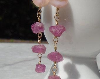 Pearl Earrings, Toumaline Rough Earrings, Pink Tourmaline Earrings, Pink Earrings, Pearl Tourmaline Earrings, Dangling Earrings, Gold Filled