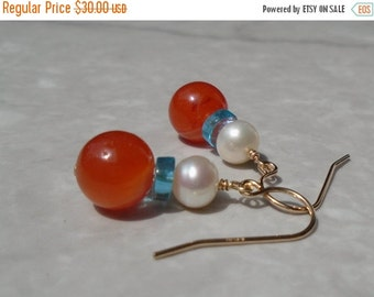 Pearl Earrings, Carnelian Earrings, Freshwater Pearl Earrings, Apatite Earrings, Short Earrings, Dangling Earrings