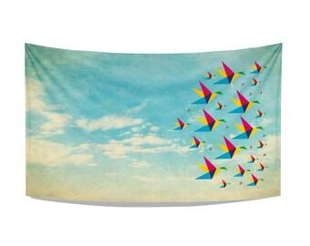 birds & clouds tea towel