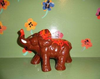 Lava Ceramic Elephant Figurine Statue Tie Dye Psychedelic Shelf Home Decor Mid Century Modern Retro Vintage