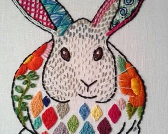 Lola Rabbit - Embroidery Art -  Hoop Art
