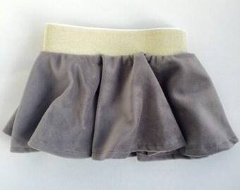 Gray Velvet Circle Skirt w/Gold Waistband