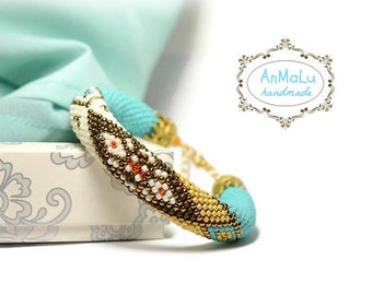 "Bead Crochet Bracelet ""Shalimar"" beige, turquoise, gold, orange"