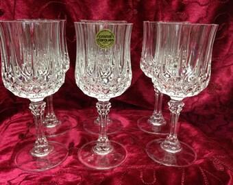 Cristal d'Arques Longchamps Stemware Wine Glasses, Set of 6