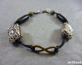 Tribal Infinity Bracelet - pearl and wood