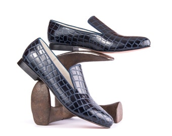 Loafers - Leather Loafers - Womens Loafers  - Women dress shoes - Womens shoes - Blue Loafers - Zapatos de Mujer - Pointy Flats - Leather