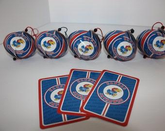 KU Jayhawks Ornaments : Single or Set of 5