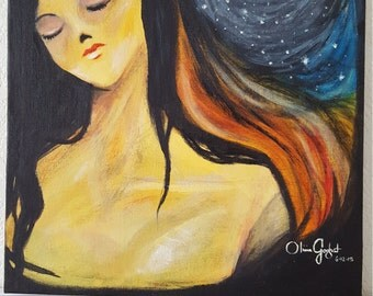 Moon and Stars Original Painting