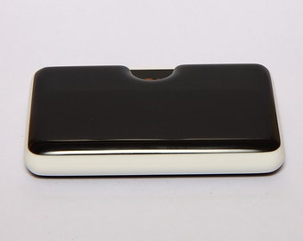 Black Business Card Holder with white detail