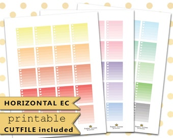 HORIZONTAL Ombre Heart Checklist/PRINTABLE Planner Stickers for use with Erin Condren Life Planner/Functional Planner Sticker Set/Download