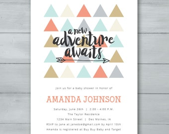 A New Adventure Awaits Baby Shower Invitation  |  Triangles Arrow Baby Shower Invite  |  Gender Neutral Baby Shower Invite